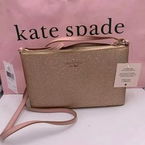NWT Kate Spade Rose Gold Glitter Crossbody
